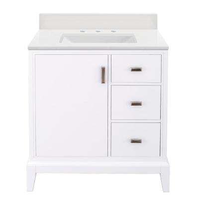 Shaelyn 31 in. W x 22 in. D Bath Vanity in White RH with Engineered Marble Vanity Top in Winter White with White Sink