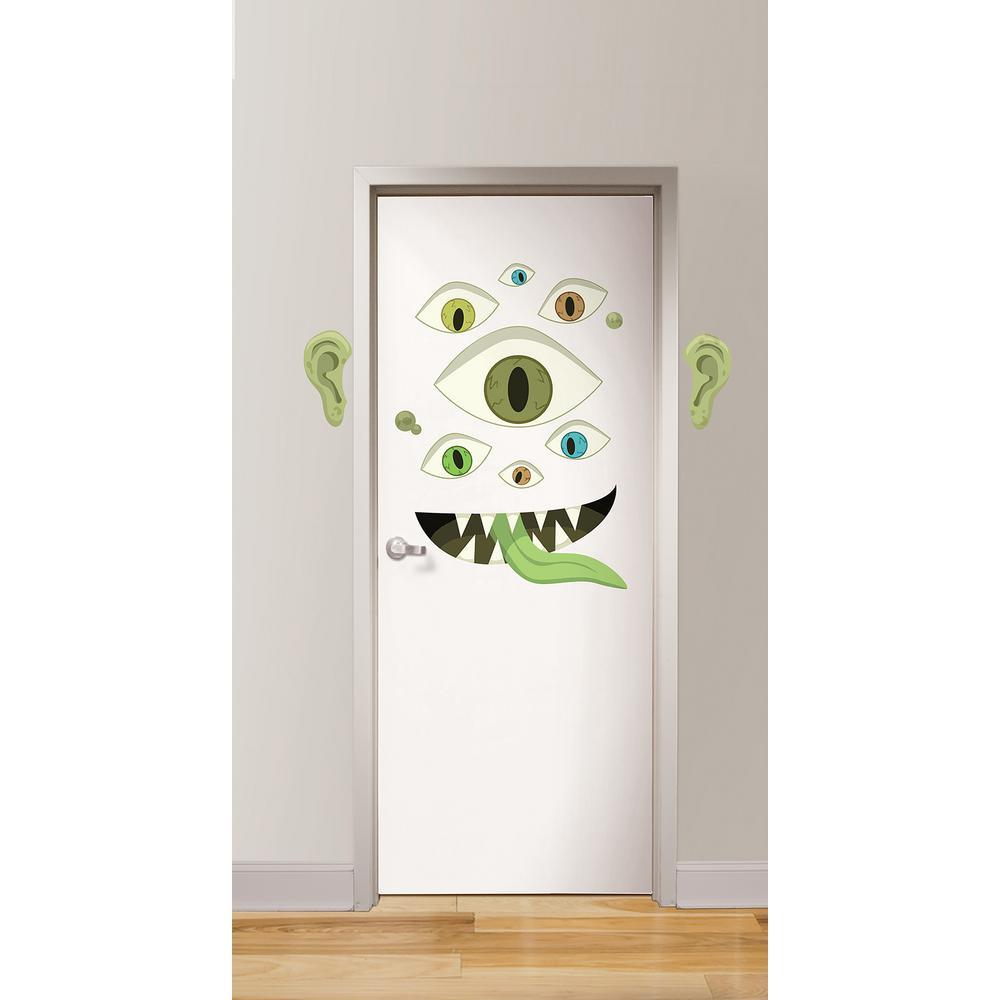 Wall pops green eye monster door decal dwpk2584 the home depot