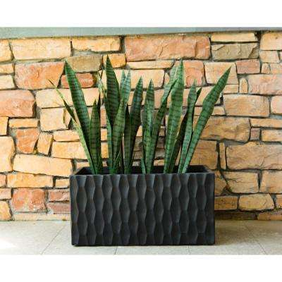 Large 31.5 in. L Burnished Black Lightweight Concrete Retro Rectangle Outdoor Planter