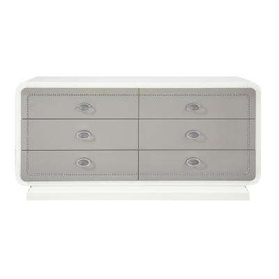 Allendale 6-Drawers Ivory and Latte High Gloss Dresser