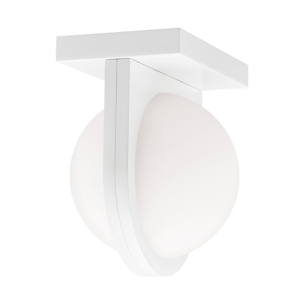 LBL Lighting Capture 24-Watt 1-Light White Integrated Integrated LED Flush Mount In the Capture ceiling light from LBL Lighting, a gently diffused orb of LED light is held captive by a band extending from the fixture's sleek, contemporary metal body. Can also be mounted as a wall sconce vertically or horizontally.