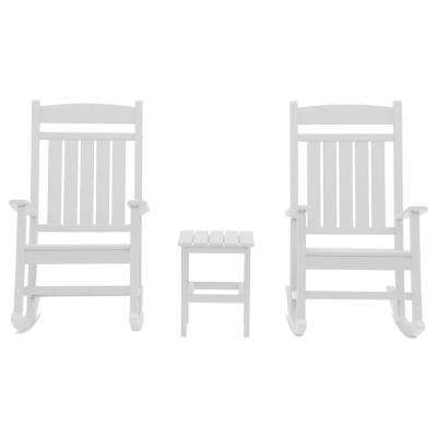 Classic Rocker White 3-Piece Plastic Outdoor Chat Set