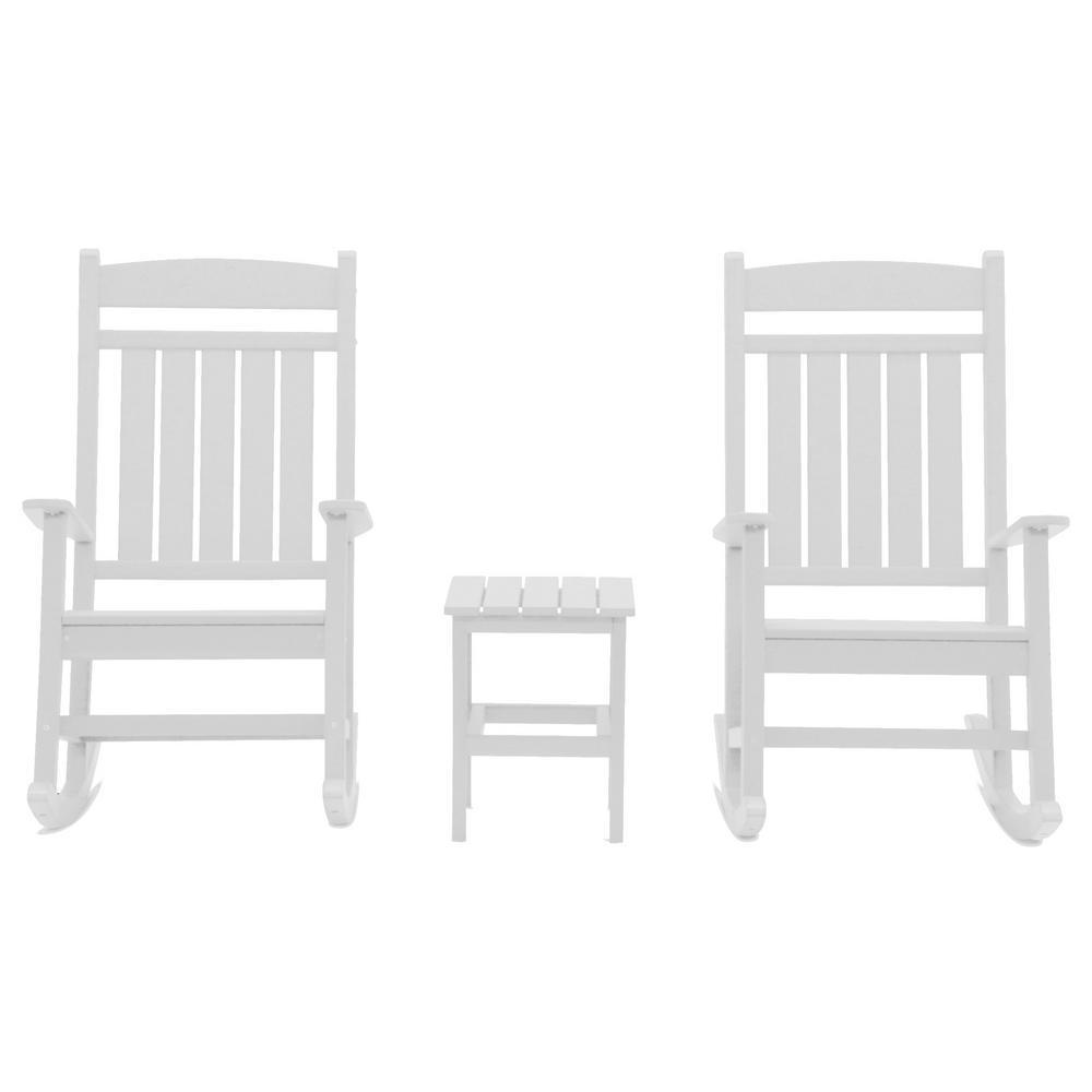 Classic Rocker White 3-Piece Plastic Outdoor Chat Set