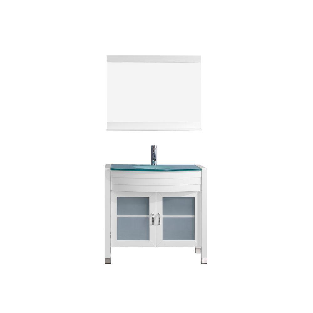 Virtu USA Ava 36 in. W Bath Vanity in White with Glass Vanity Top in Aqua Tempered Glass with Round Basin and Mirror and Faucet