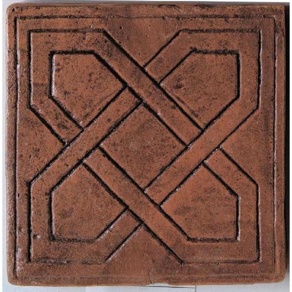 Daltile Saltillo Sealed Antique Red 6 in. x 6 in. Ceramic Pinwheel Decorative Floor and Wall Tile -DISCONTINUED