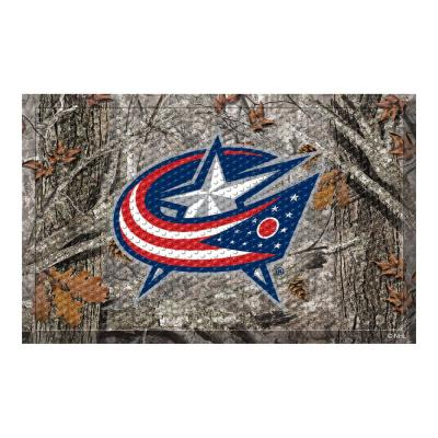 NHL - Columbus Blue Jackets 19 in. x 30 in. Outdoor Camo Scraper Mat Door Mat