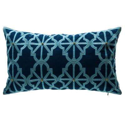 Tivoli Damask Lumbar Outdoor Throw Pillow