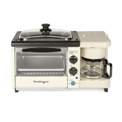 Breakfast Station 1450 W 2-Slice Bisque Toaster Oven with Built-In Timer
