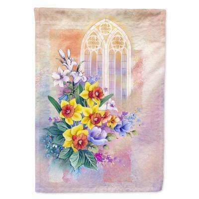 11 in. x 15-1/2 in. Polyester Church Window and Daffodils 2-Sided 2-Ply Garden Flag