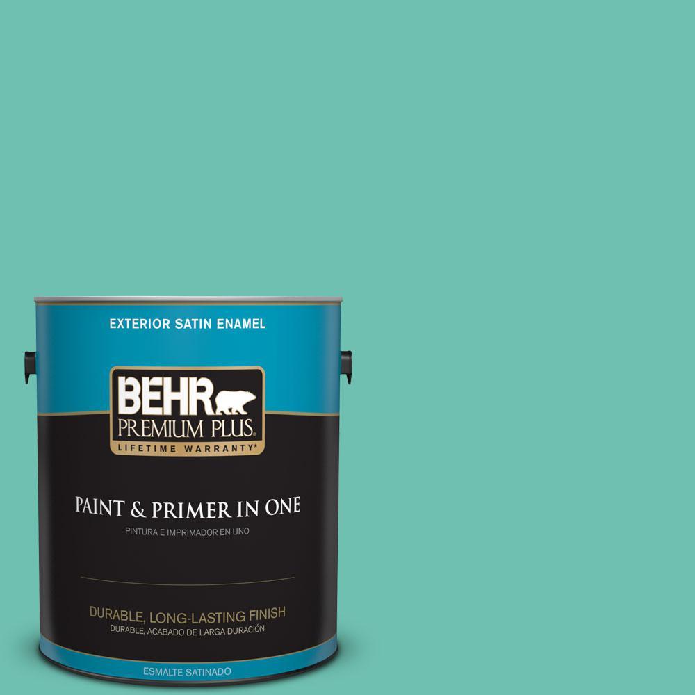 BEHR Premium Plus 1-gal. #P440-4 March Aquamarine Satin Enamel Exterior Paint