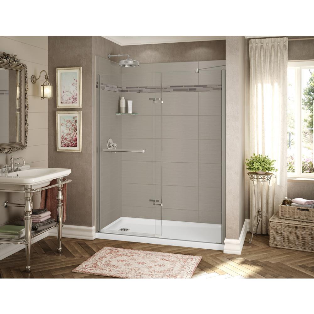 Utile Origin 32 in. x 60 in. x 83.5 in. Alcove Shower Stall in Greige with Left Drain Base in White