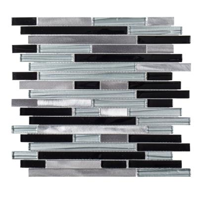 Binary Code Gray 11.625 in. x 11.625 in. Interlocking Metal Mosaic Tile (0.938 sq. ft./Each)