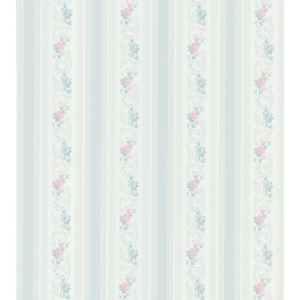 Cameo Rose IV Blue Acanthus Floral Stripe Wallpaper Sample