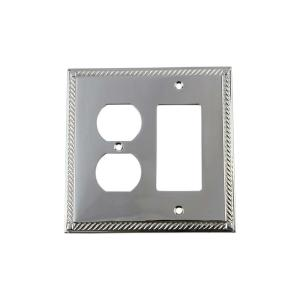 Nostalgic Warehouse Rope Switch Plate with Rocker and Outlet in Bright Chrome by Nostalgic Warehouse