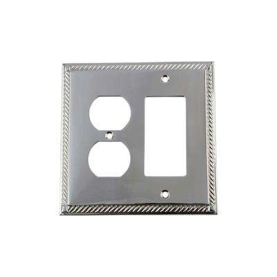 Rope Switch Plate with Rocker and Outlet in Bright Chrome