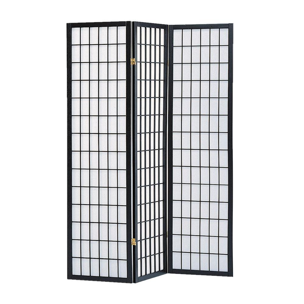 Screen Gems Shoji Screen 6 ft Black 3 Panel Room Divider SG 530