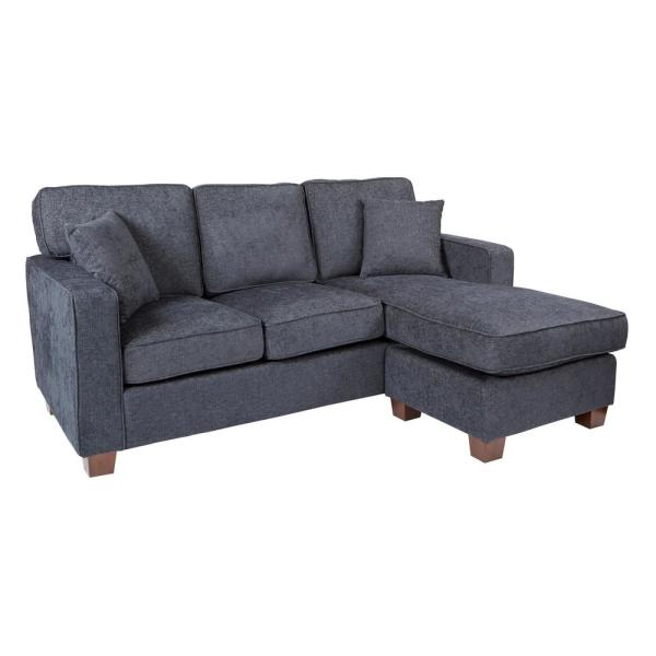 Russell 2-Piece Navy Polyester 4-Seater L-Shaped Sectional Sofa with Wood Legs
