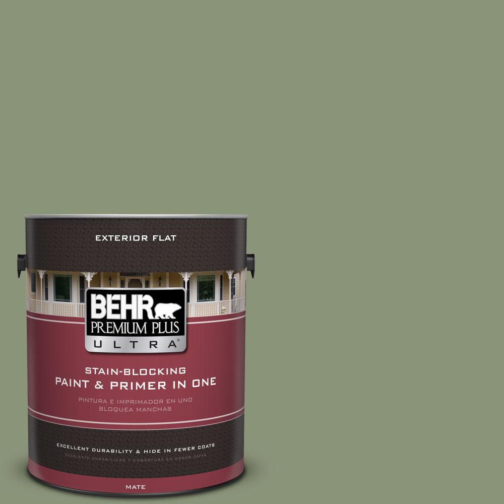BEHR Premium Plus Ultra 1-gal. #420F-5 Olivine Flat Exterior Paint