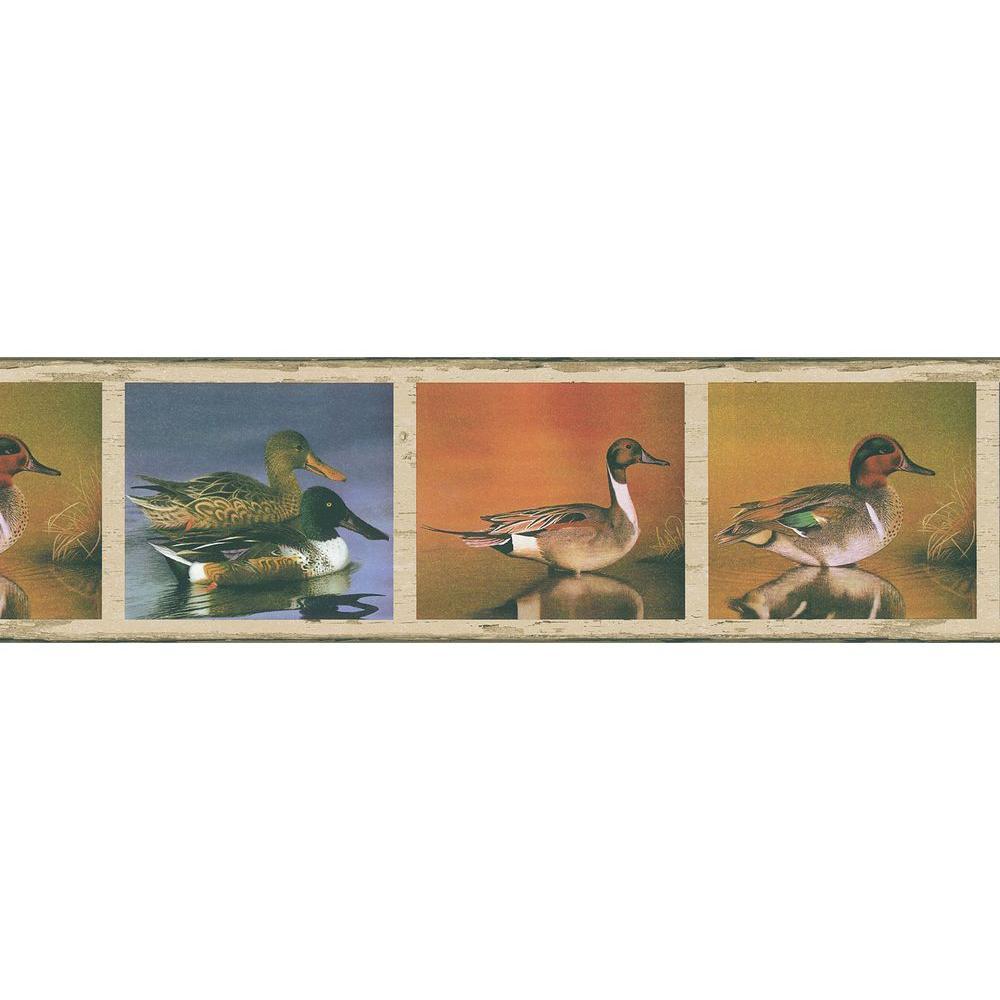 Brewster Northwoods Lodge Duck Pond Wallpaper Border, Brown