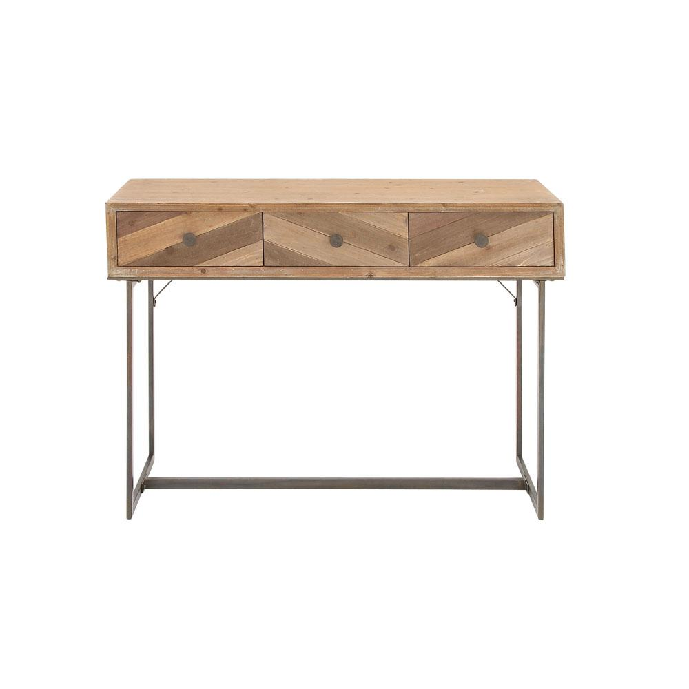 Light Brown Wood and Iron 3-Drawer Console Table