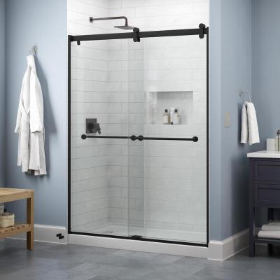 Everly 60 in. x 71 in. Contemporary Sliding Frameless Shower Door in Matte Black with Clear Glass