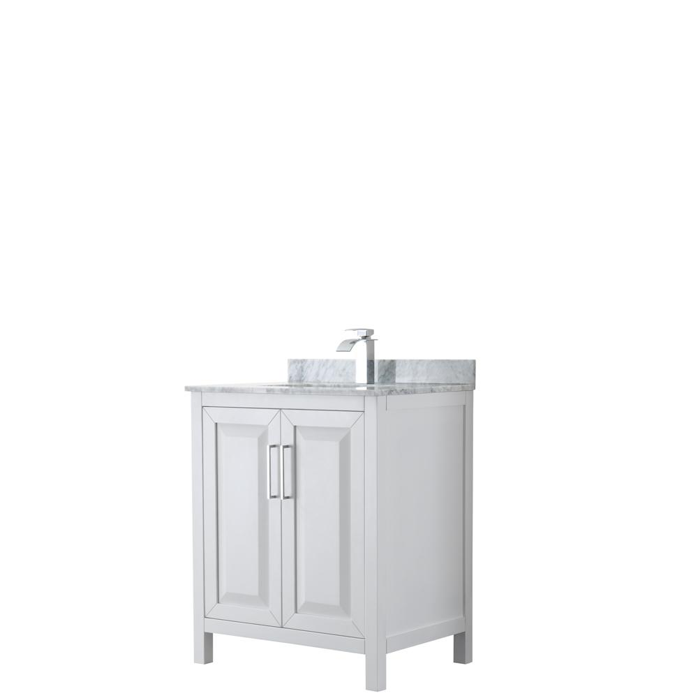 Wyndham Collection Daria 30 in. Single Bathroom Vanity in White with Marble Vanity Top in Carrara White with White Basin