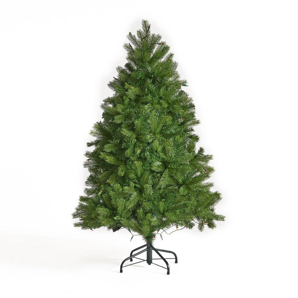Multi Color Pre Lit Christmas Trees: Noble House 4.5 Ft. Pre-Lit Mixed Spruce Artificial