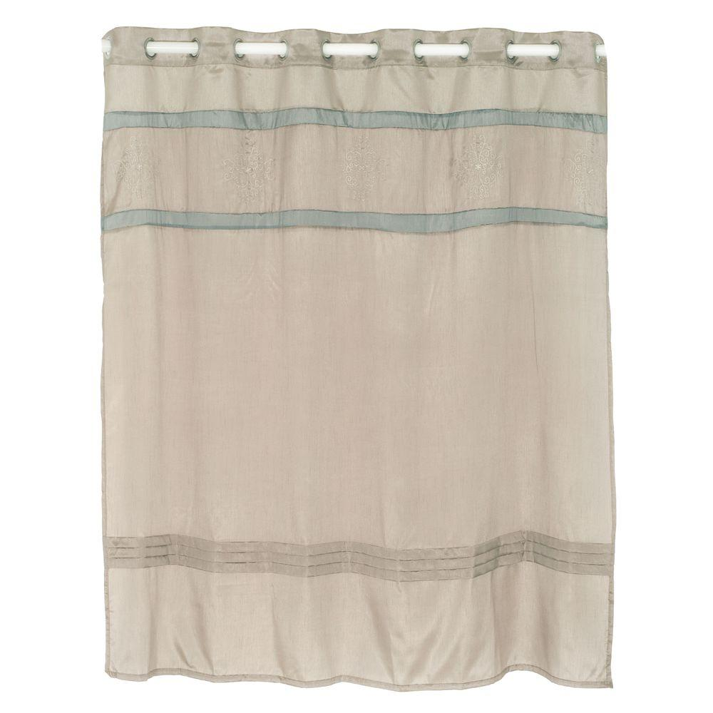 Embroidered Shower Curtain In Grey