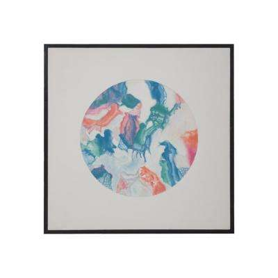 """30 in. x 30 in. """"Pastel Globe"""" Hand Painted Framed Canvas Wall Art"""