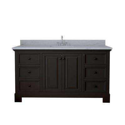 Richmond 60 in. W x 22 in. D Single Vanity in Espresso with Marble Vanity Top in White with White Basin