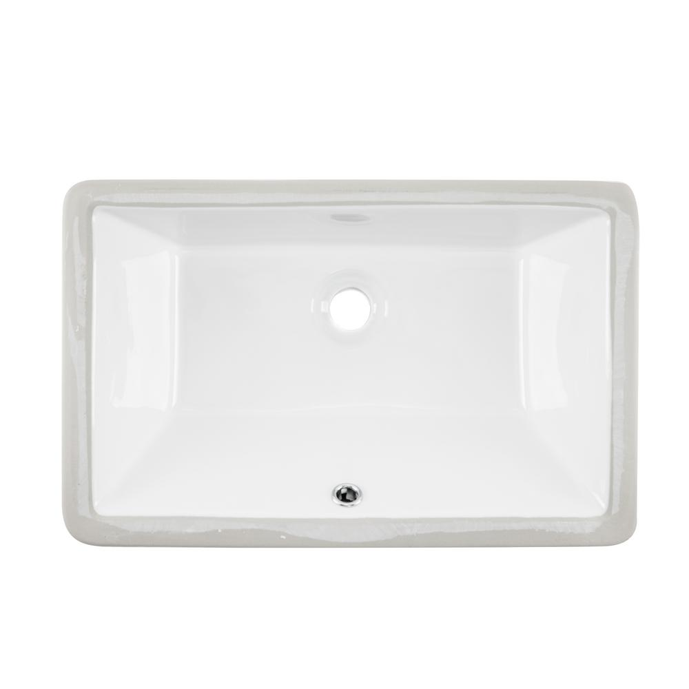 Ipt Sink Company Rectangular Glazed Ceramic Undermount Bathroom Vanity In White