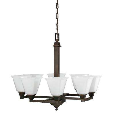 Denhelm 8-Light Burnt Sienna Chandelier with Inside White Painted Etched Glass