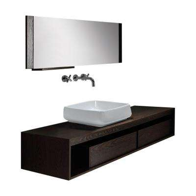 58 in. W x 12 in. D x 25 in. H Vanity in Espresso with Ceramic Vanity Top in White