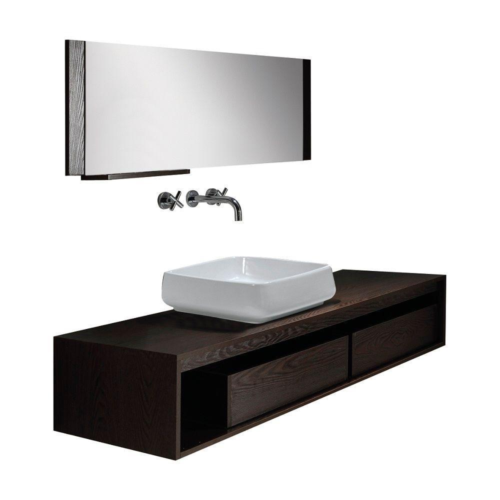 Dreamwerks 58 in. W x 12 in. D x 25 in. H Vanity in Espresso with Ceramic Vanity Top in White