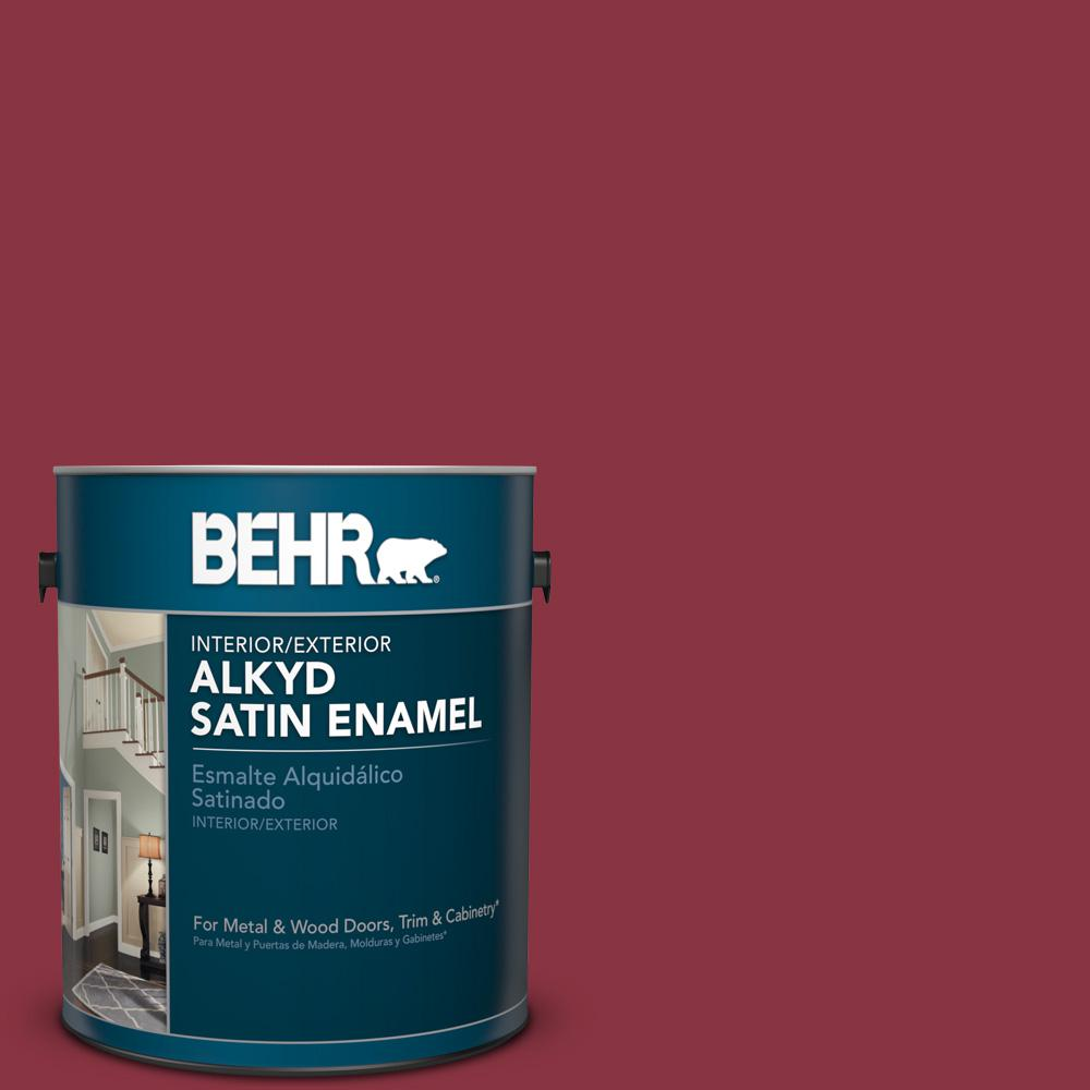 1 gal. #PPU1-10 Forbidden Red Satin Enamel Alkyd Interior/Exterior Paint