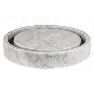 Round Infinity Pool Sink in Carrara Marble