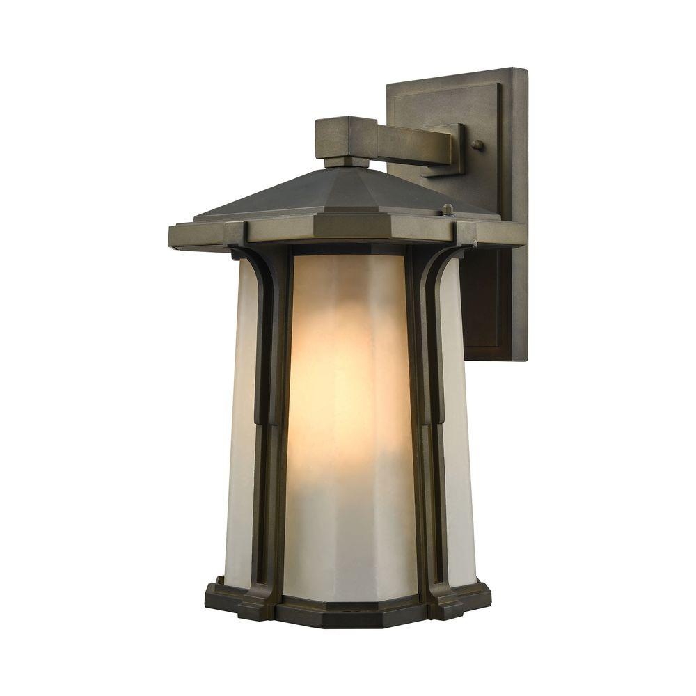An Lighting Brighton 1 Light Smoked Bronze Outdoor Wall Sconce Tn 75819 The Home Depot