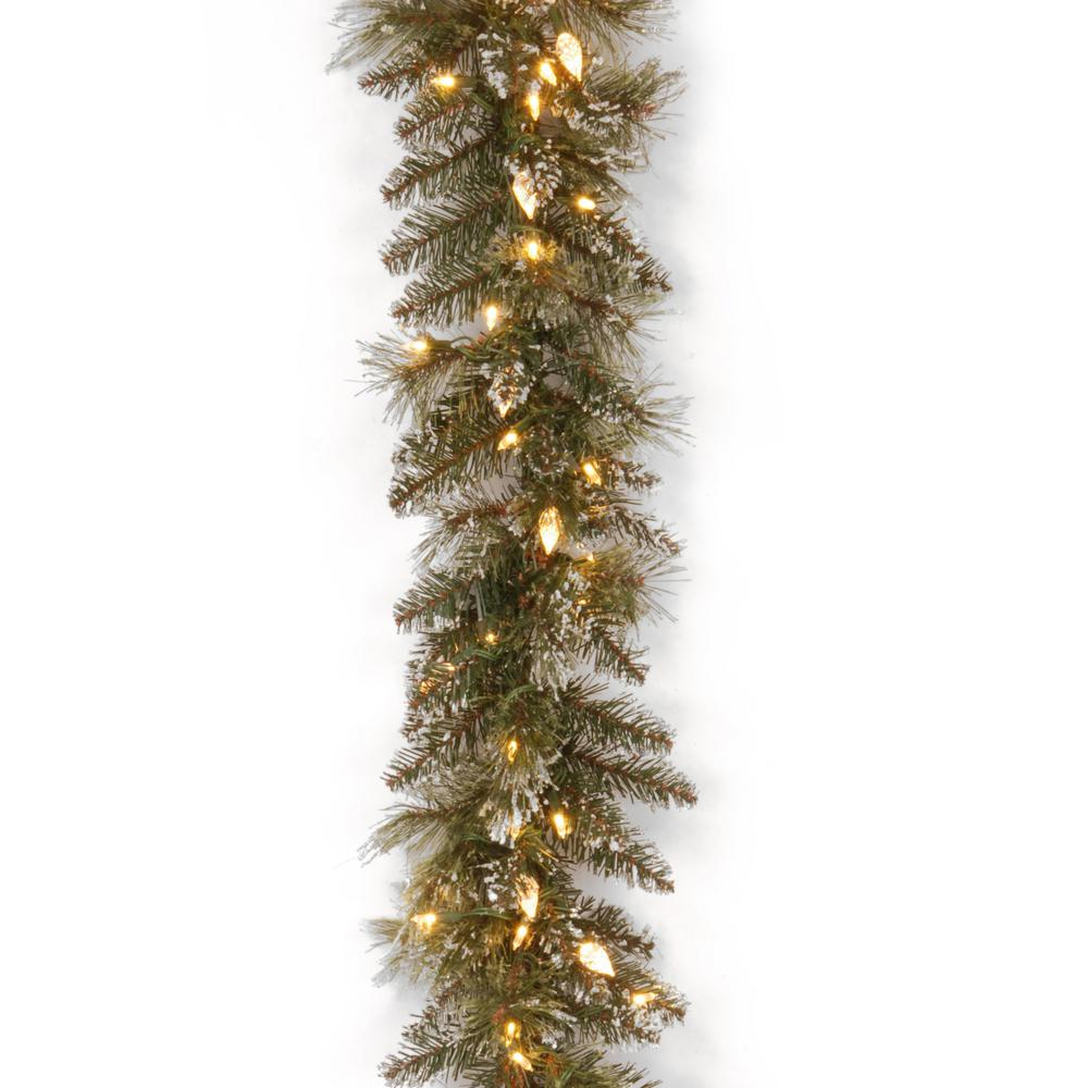 9 ft. Glittery Bristle Pine Garland with Warm White LED Lights