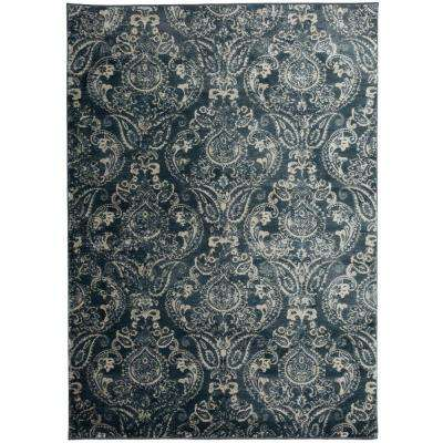 """Transitional Distressed Floral Design High-Low Texture Dark Blue Area Rug 7' 7""""x10'"""