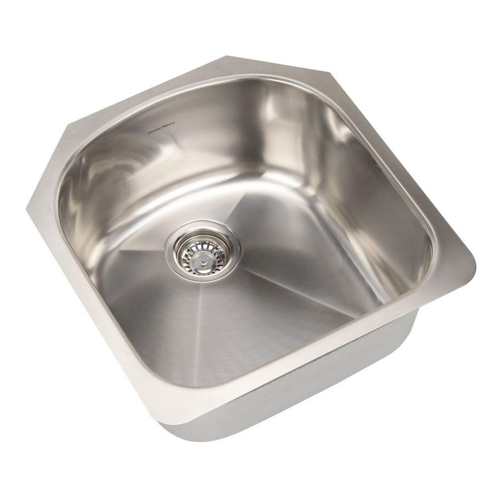 american standard prevoir undermount brushed stainless steel 19 875 in  0 hole basin single bowl kitchen sink kit 18sb 212000 073   the home depot american standard prevoir undermount brushed stainless steel      rh   homedepot com