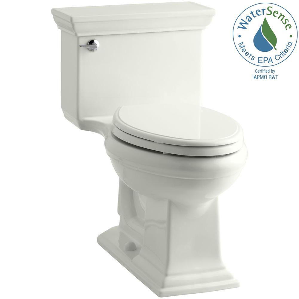 Memoris Stately 1-Piece 1.28 GPF Single Flush Elongated Toilet with AquaPiston Flush Technology in Dune