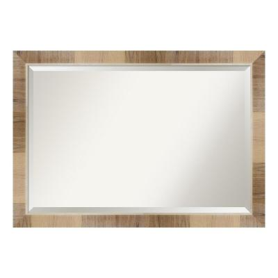 Medium Rectangle Whitewash Brown Beveled Glass Modern Mirror (28.25 in. H x 40.25 in. W)