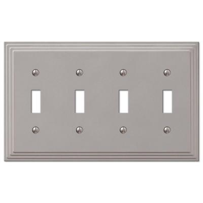 Tiered 4 Gang Toggle Metal Wall Plate - Satin Nickel