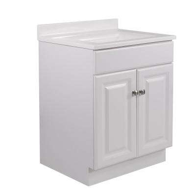 24 in. x 21 in. x 31.5 in. 2-Door White Vanity w/ 4 in. Centerset Solid White CM Camilla Vanity Top w/ White Basin