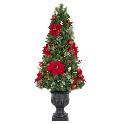 4.5 ft. Berry Bliss Mixed Pine Potted Pre-Lit Artificial Christmas Tree