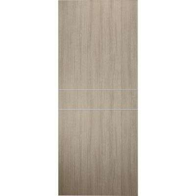 24 in. x 80 in. Viola 2HN Shambor Finished with Aluminum Strips Solid Core Composite Interior Door Slab No Bore