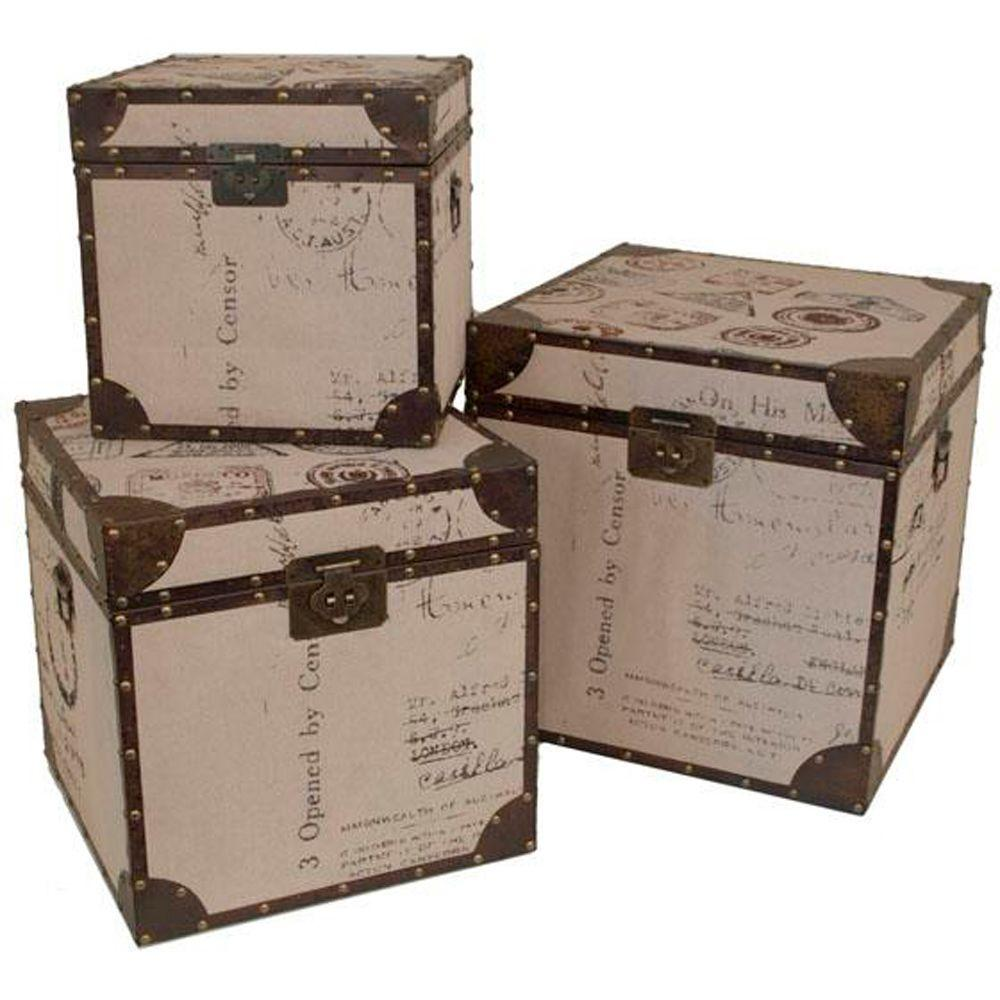 Home Decorators Collection Graham Linen Trunk Set (Set of 3)