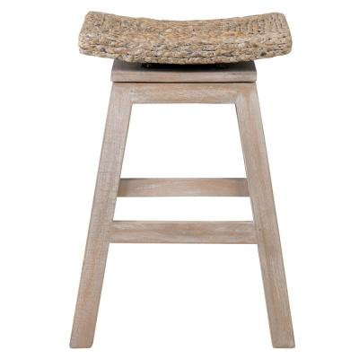 Joyce 23.5 in. White Washed Teak and Hyacinth Counter Stool