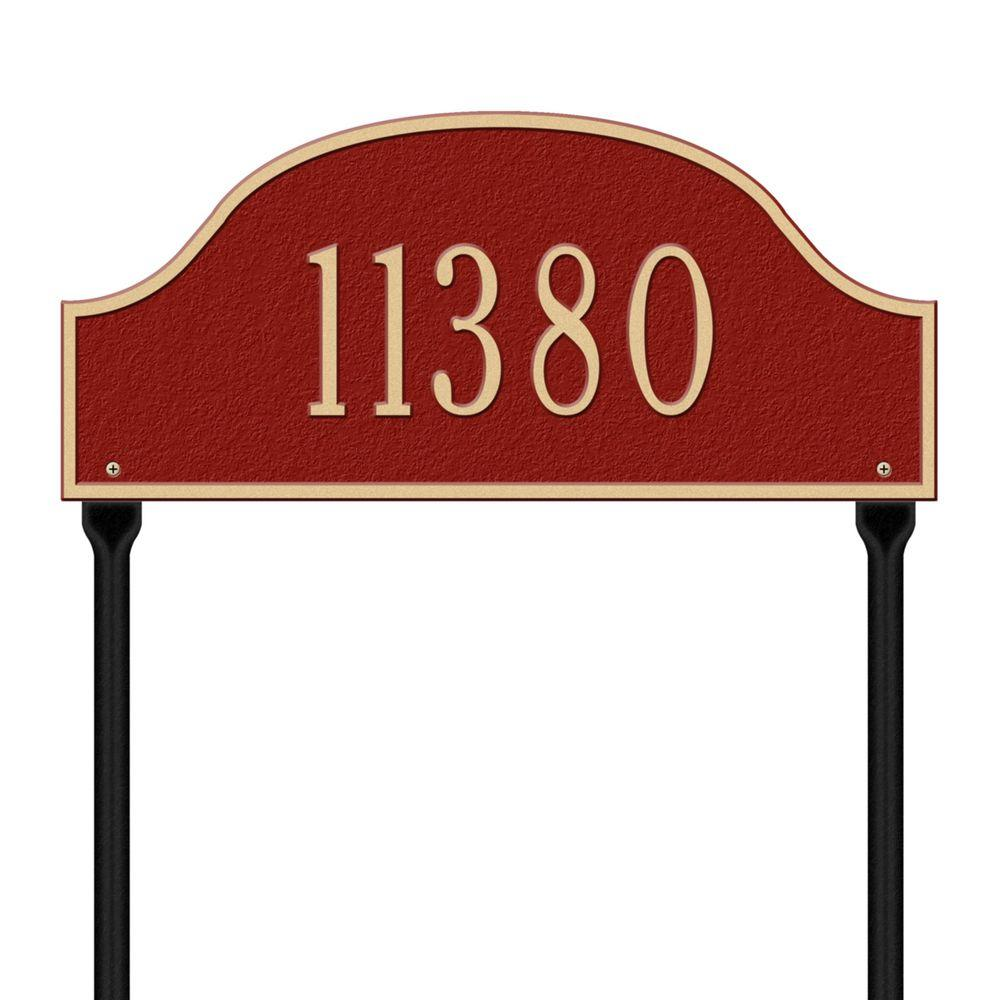 Whitehall Products Admiral Standard Arch Red/Gold Lawn One Line Address Plaque