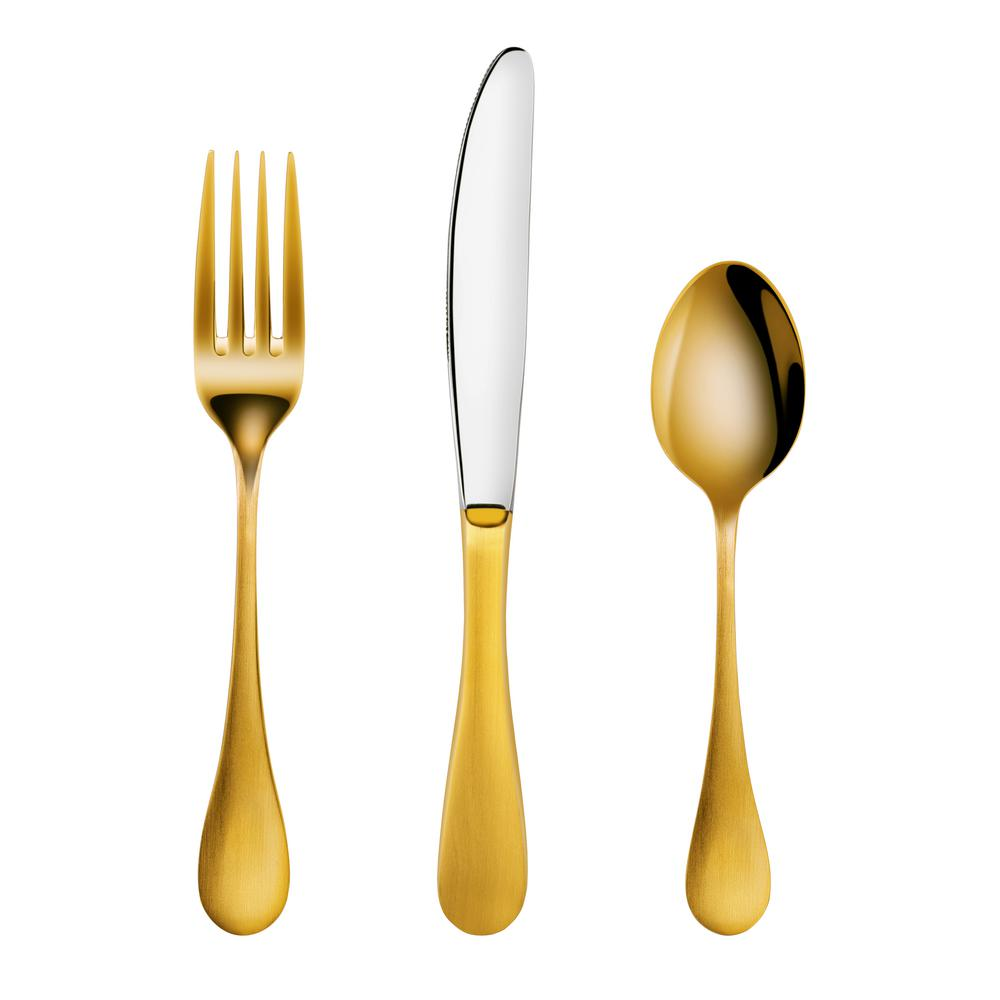Rain 18/10 Stainless Steel Flatware 36-Piece Set, Gold Finished, Service for
